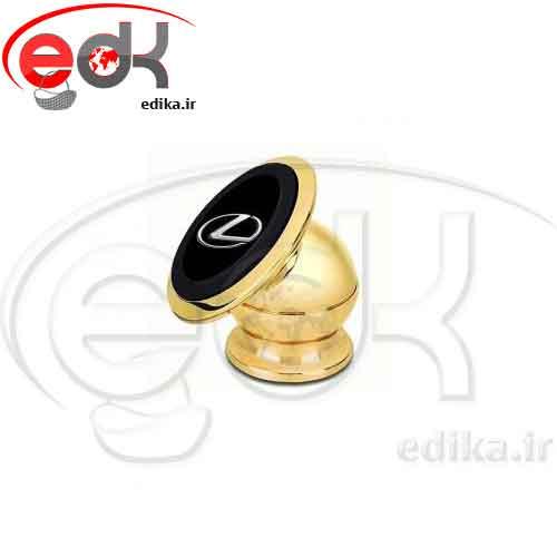 هلدر موبايل مغناطيسي فلزي طلايي برند اتومبيل
