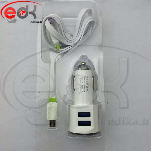 شارژر فندکي دو خروجي فست + کابل اندرويد LDNIO DL-C29 HIGH