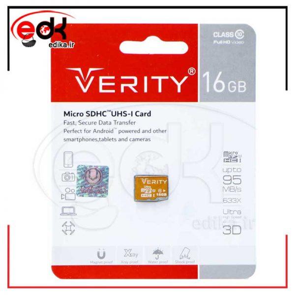 رم میکرو ۱۶ گیگ وریتی Verity U106 U1 95MB/s بدون خشاب