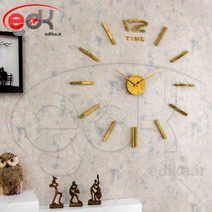 ساعت دیواری فانتزی طرح تایم (طلایی)